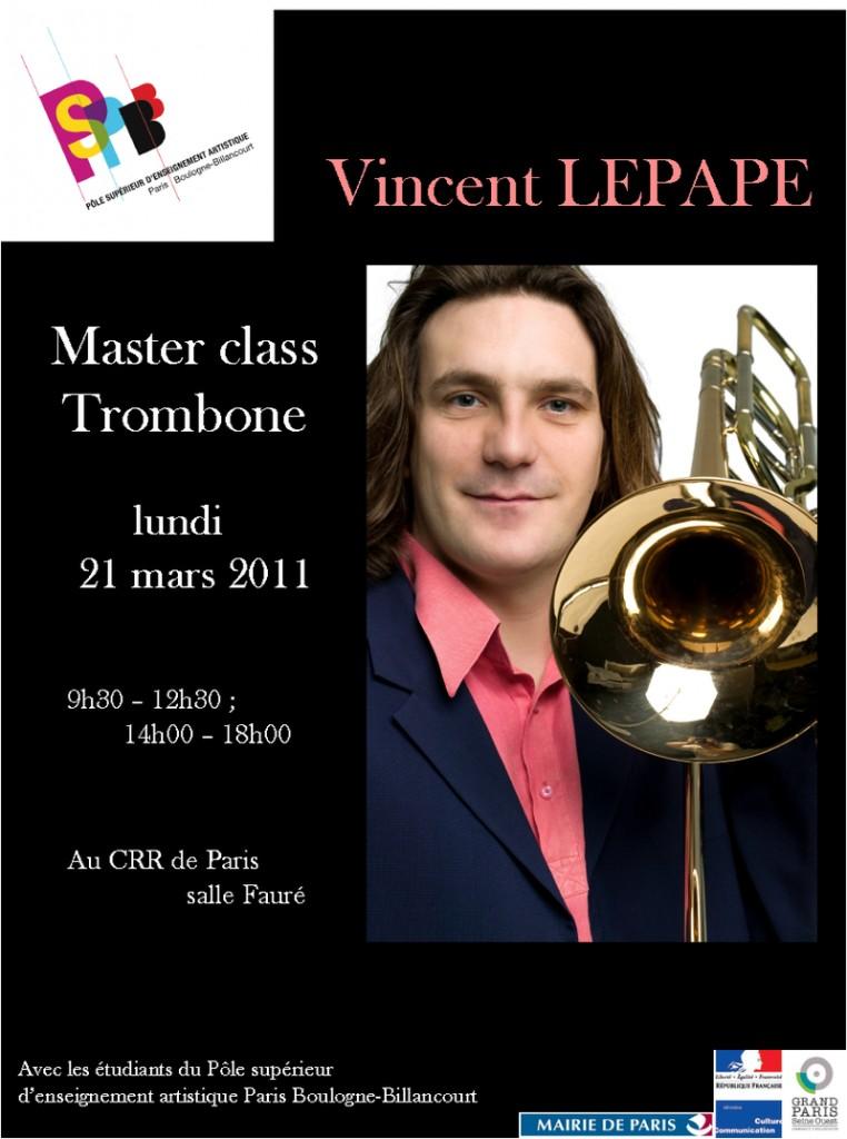 PSPBB – Master class de trombone – par Vincent Lepape