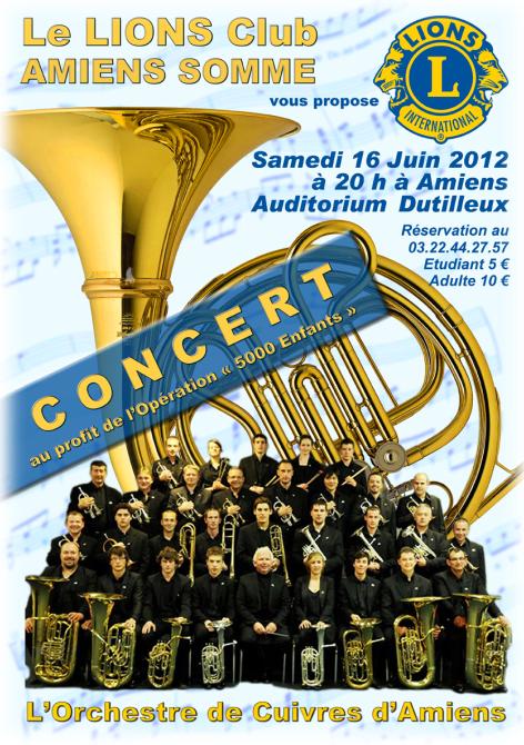 l'Orchestre de Cuivres d'Amiens en concert le Samedi 16 juin au profit de l'opération «5000 Enfants»