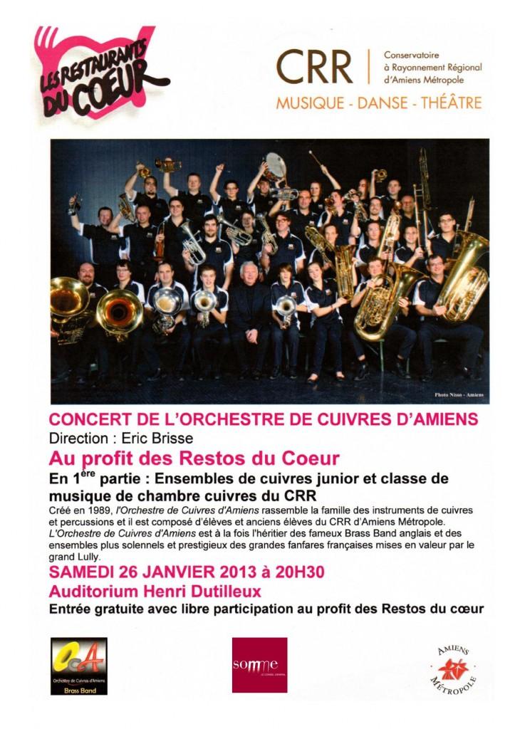 l'Orchestre de Cuivres d'Amiens en concert pour les Restos du Coeur le 26 Janvier.