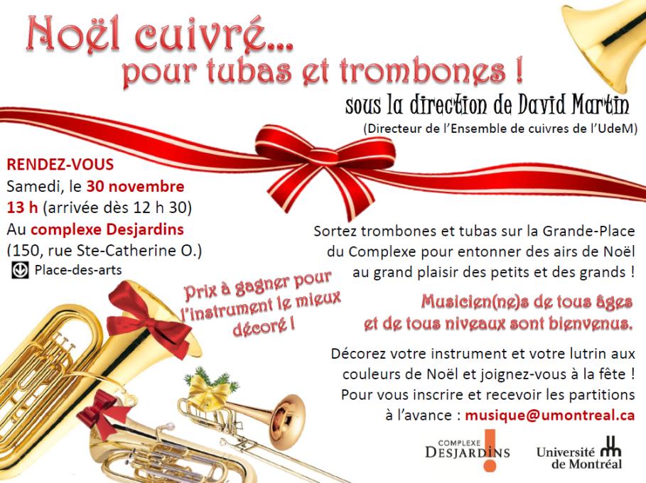 NOËL CUIVRÉ… POUR TUBAS ET TROMBONES à Montréal !