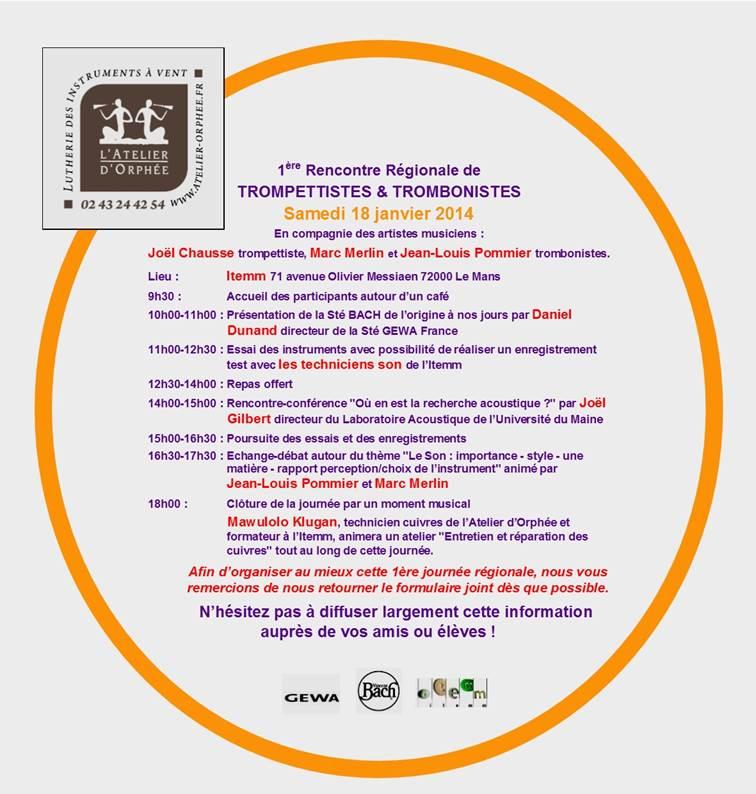 1ere Rencontre Régionale Trompettistes & Trombonistes au Mans